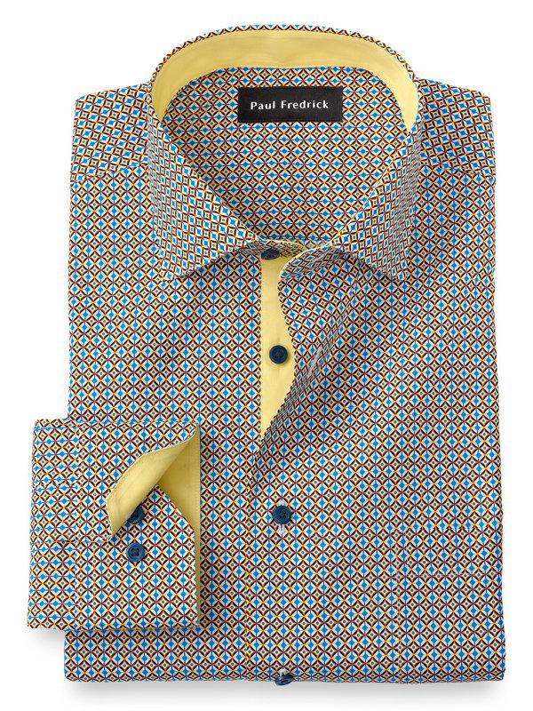 Slim Fit Non-Iron Cotton Geometric Print Dress Shirt with Contrast Trim