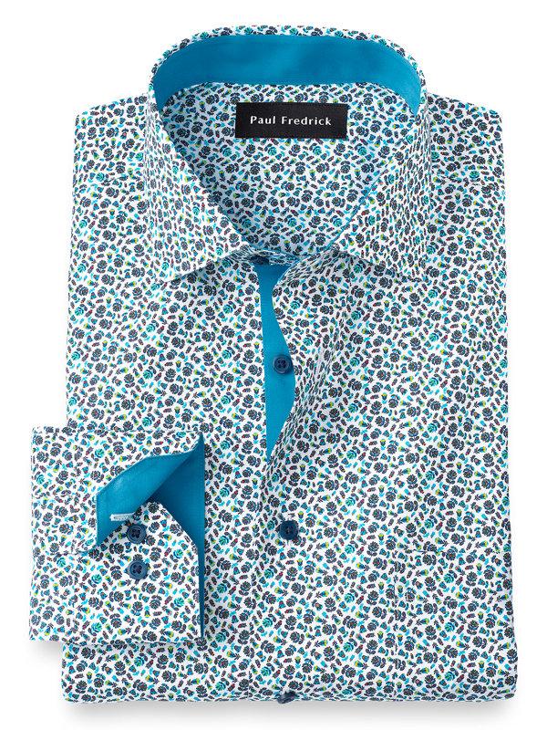 Non-Iron Cotton Floral Print Dress Shirt with Contrast Trim
