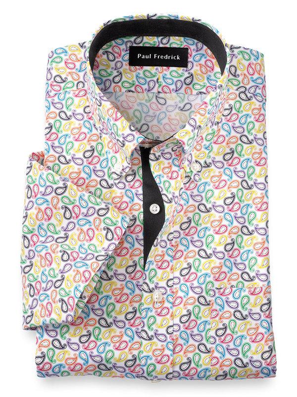 Non-Iron Cotton Paisley Print Short Sleeve Dress Shirt with Contrast Trim