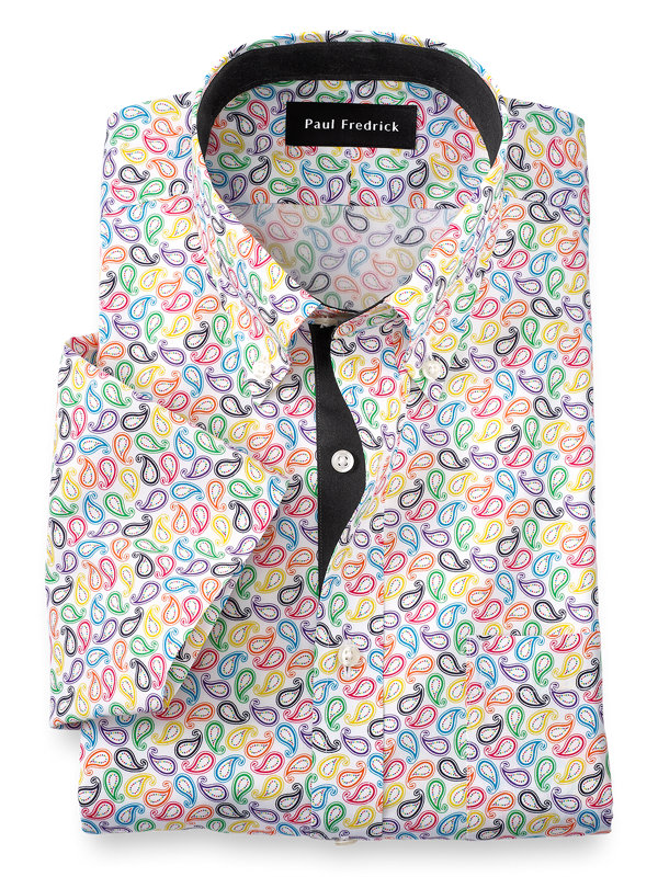 Slim Fit Non-Iron Cotton Paisley Print Short Sleeve Dress Shirt with Contrast Tr