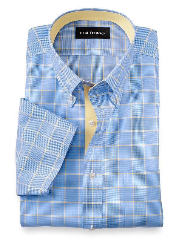Slim Fit Non-Iron Cotton Glen Plaid Short Sleeve Dress Shirt with Contrast Trim