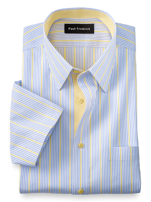 Slim Fit Non-Iron Cotton Solid Short Sleeve Dress Shirt with Contrast Trim