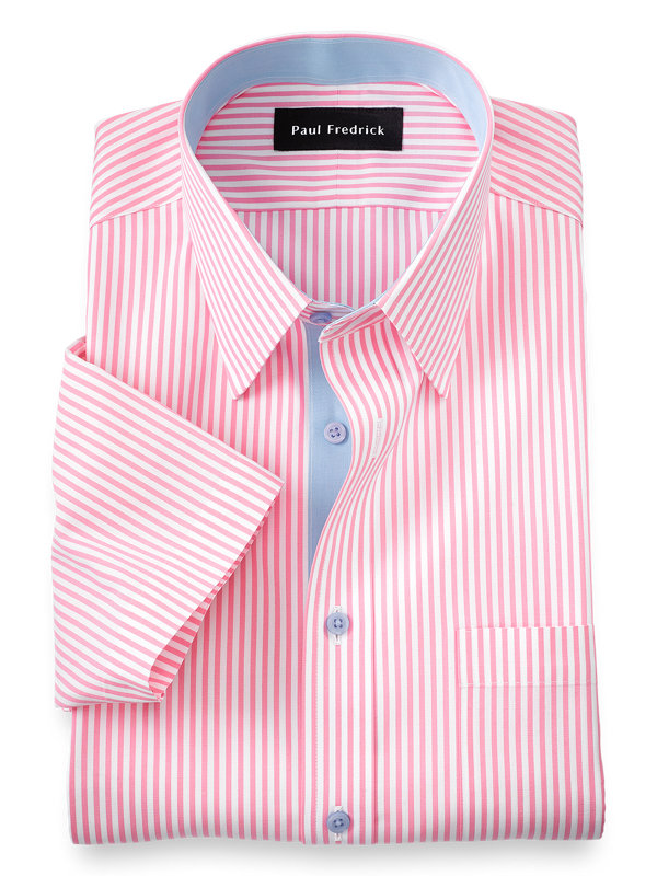 Slim Fit Non-Iron Cotton Bengal Stripe Short Sleeve Dress Shirt with Contrast Tr