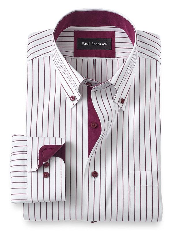 Non-Iron Cotton Stripe Dress Shirt with Contrast Trim