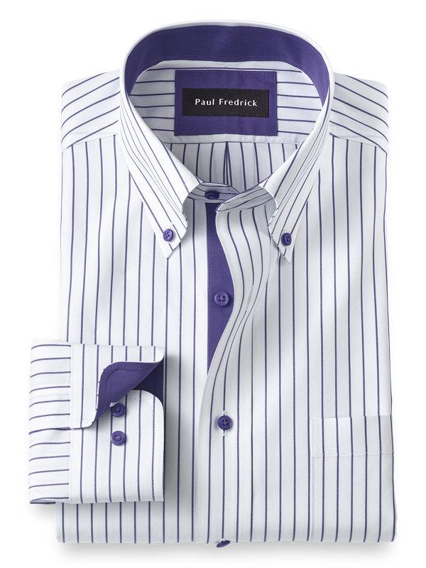 Slim Fit Non-Iron Dress Stripe Dress Shirt with Contrast Trim