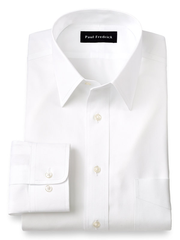 Tailored Fit Non-Iron Cotton Pinpoint Solid Color Straight Collar Dress Shirt