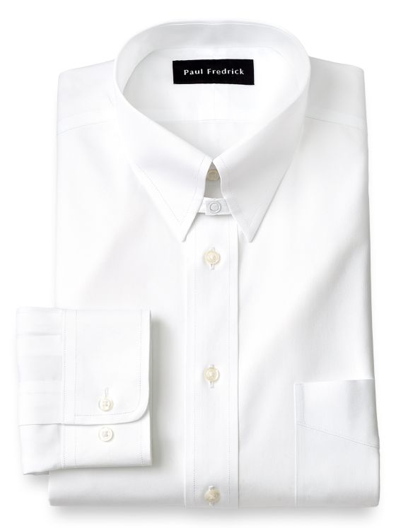Tailored Fit Non-Iron Pinpoint Solid Color Snap Tab French Cuff Dress Shirt