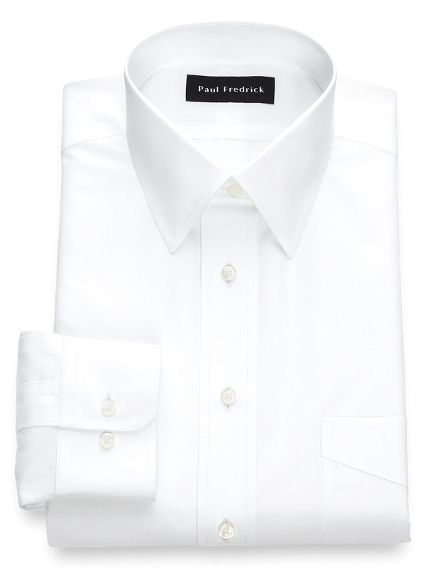 Tailored Fit Non-Iron Cotton Broadcloth Solid Color Straight Collar Dress Shirt