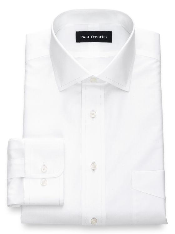 Tailored Fit Non-Iron Cotton Broadcloth Solid Color Spread Collar Dress Shirt