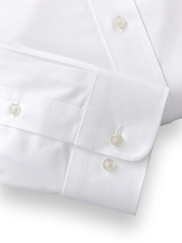 Tailored Fit Non-Iron Cotton Pinpoint Solid Color Spread Collar Dress Shirt
