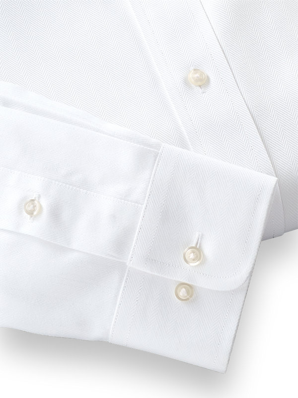 Tailored Fit Non-Iron Solid Color Herringbone Straight Collar Dress Shirt