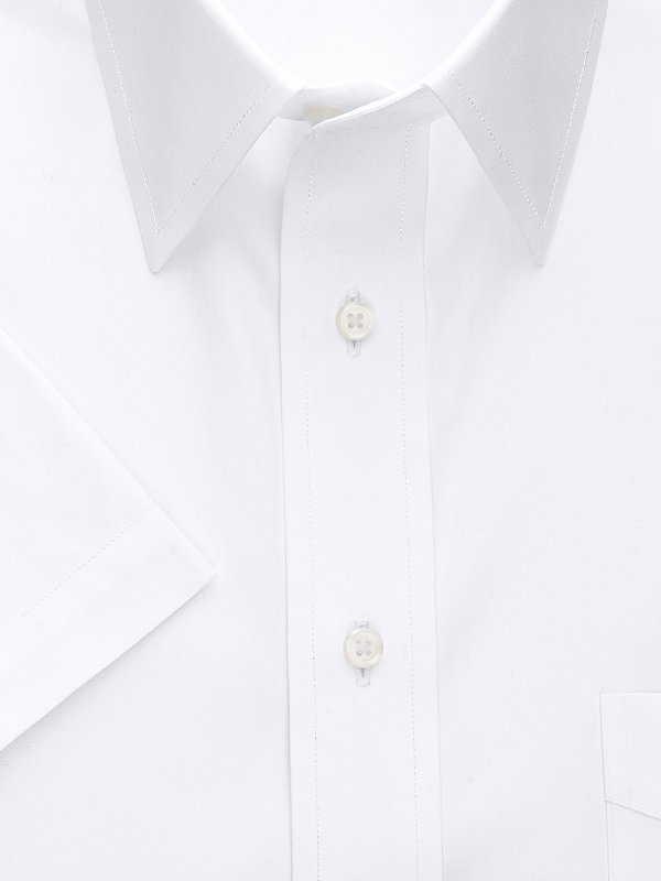 Tailored Fit Non-Iron Cotton Pinpoint Straight Collar Short Sleeve Dress Shirt