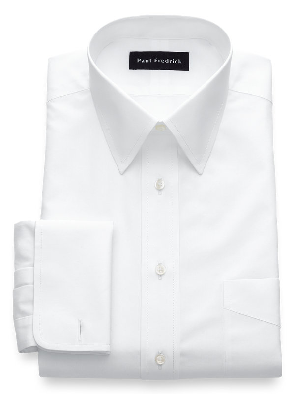 Tailored Fit Non-Iron Cotton Broadcloth Straight Collar French Cuff Dress Shirt