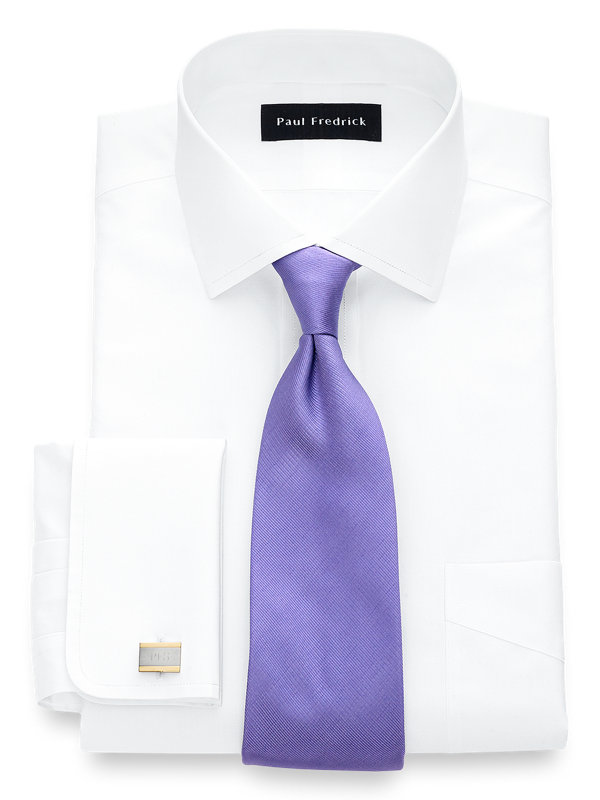 Tailored Fit Non-Iron Cotton Broadcloth Spread Collar French Cuff Dress Shirt