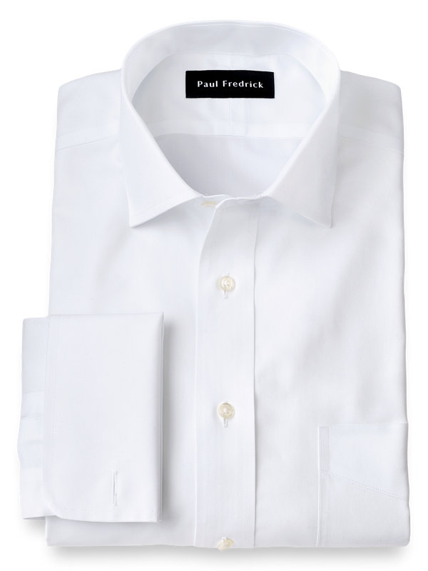 Tailored Fit Non-Iron Cotton Pinpoint Solid Color Snap Tab Collar Dress Shirt