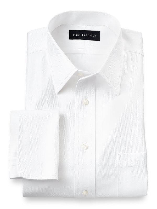 Tailored Fit Non-Iron Herringbone Straight Collar French Cuff Dress Shirt