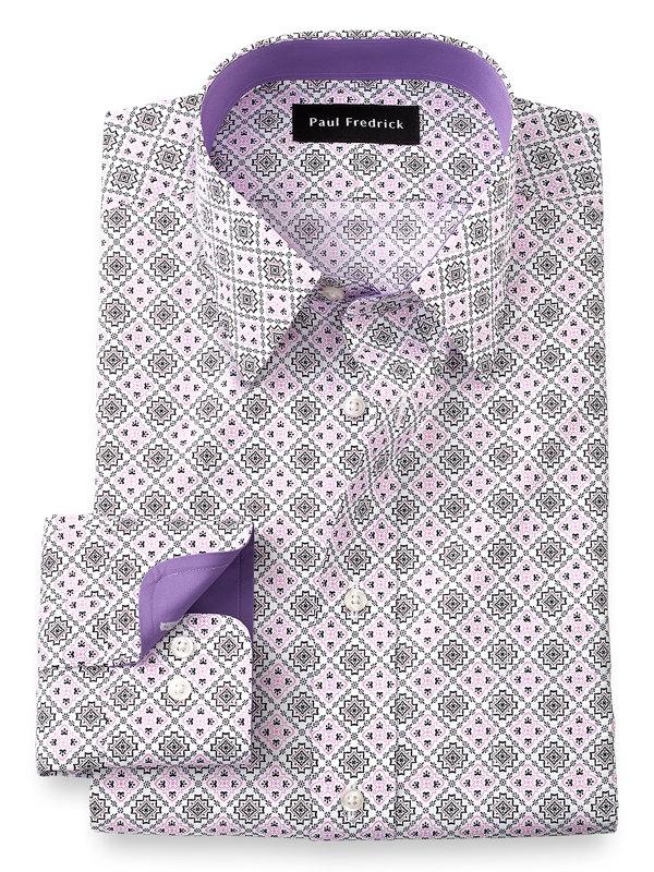Non-Iron Cotton Medallion Dress Shirt with Contrast Trim