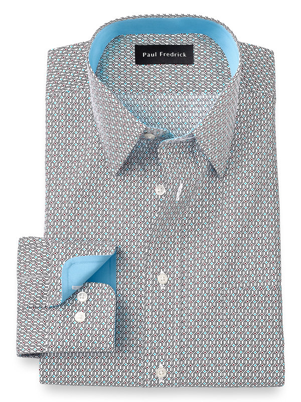 Slim Fit Non-Iron Cotton Deco Dress Shirt with Contrast Trim