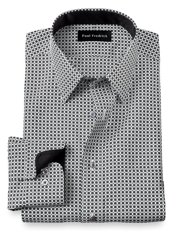 Tailored Fit Non-Iron Cotton Deco Dress Shirt with Contrast Trim