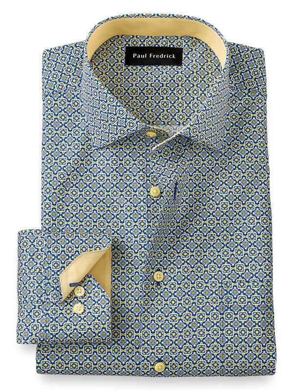 Tailored Fit Non-Iron Cotton Medallion Dress Shirt with Contrast Trim