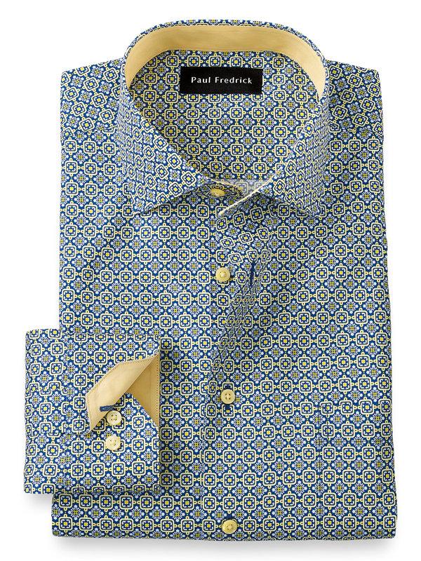 Slim Fit Non-Iron Cotton Medallion Dress Shirt with Contrast Trim