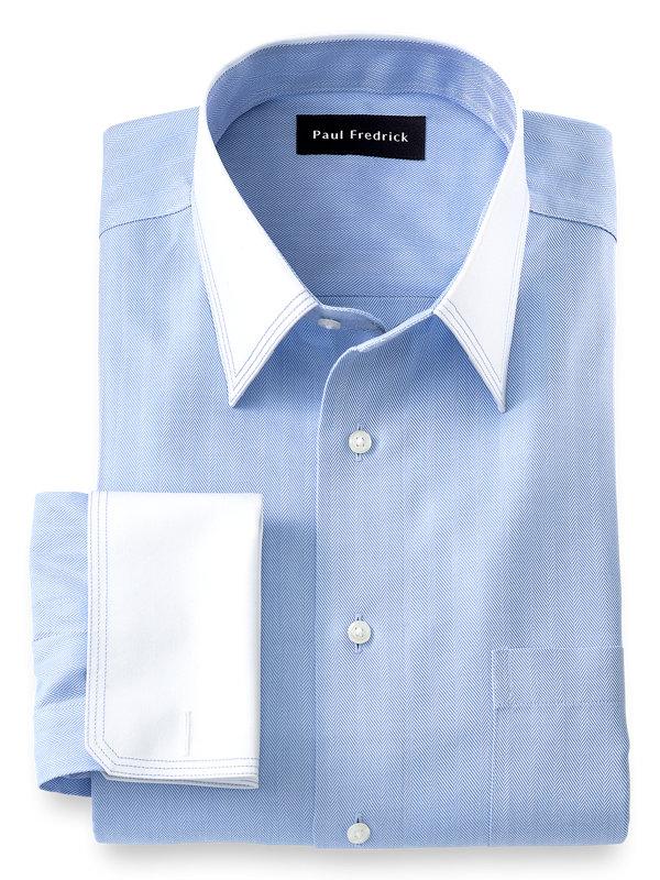 Tailored Fit Non-Iron Cotton Herringbone Solid Dress Shirt