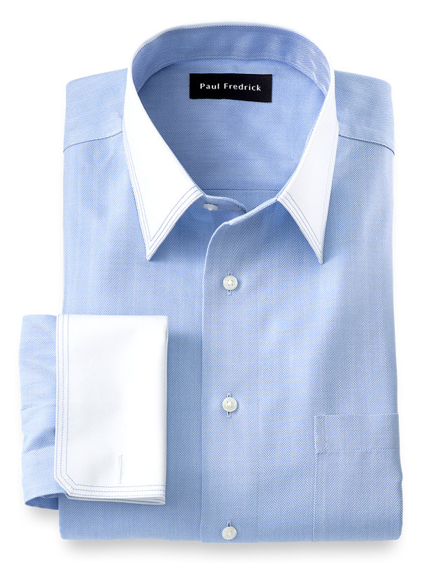 Slim Fit Non-Iron Cotton Herringbone Solid Dress Shirt