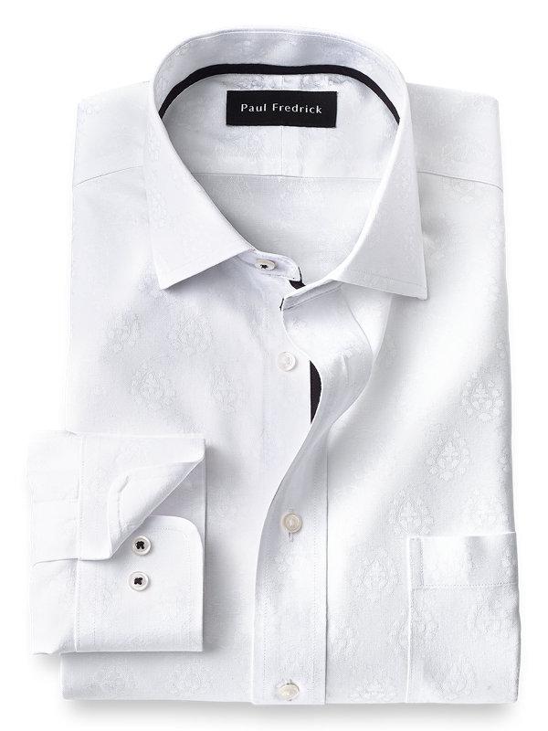 Non-Iron Cotton Paisley Dress Shirt with Contrast Trim