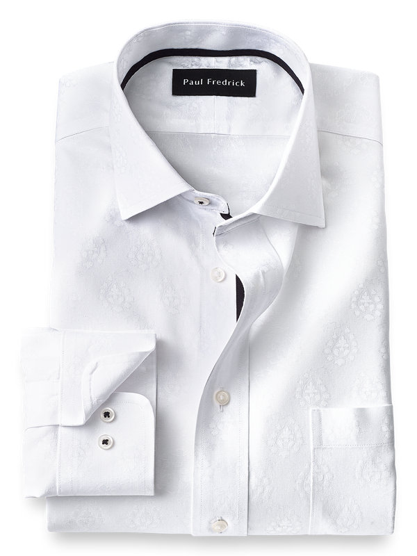 Tailored Fit Non-Iron Cotton Paisley Dress Shirt with Contrast Trim