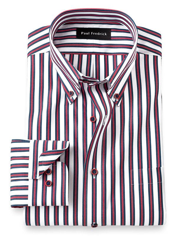 Non-Iron Cotton Alternating Stripe Dress Shirt