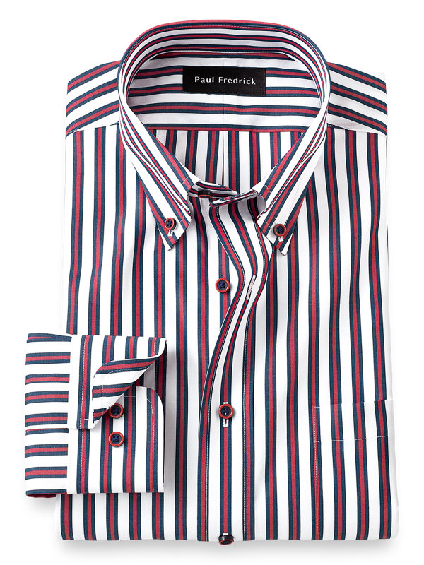 Tailored Fit Non-Iron Cotton Alternating Stripe Dress Shirt