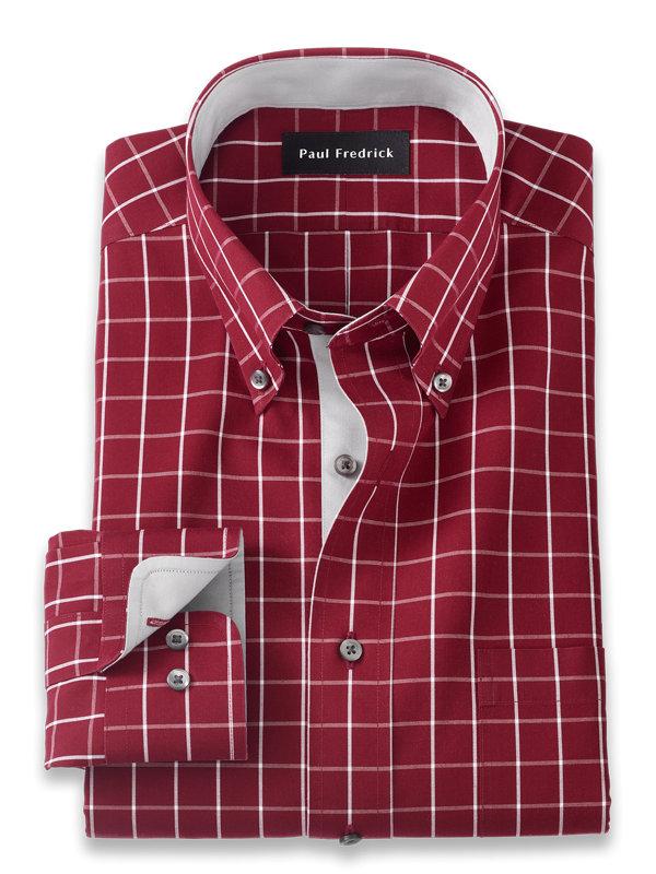Slim Fit Non-Iron Cotton Windowpane Dress Shirt with Contrast Trim