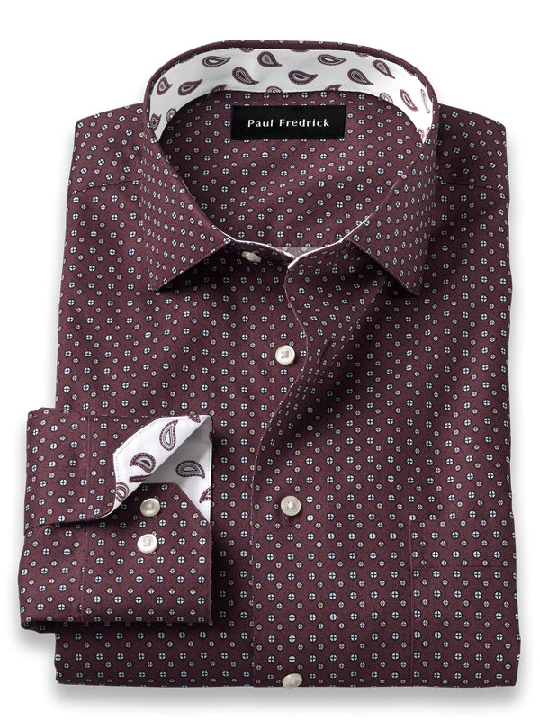 Tailored Fit Non-Iron Cotton Deco Print Dress Shirt with Contrast Trim