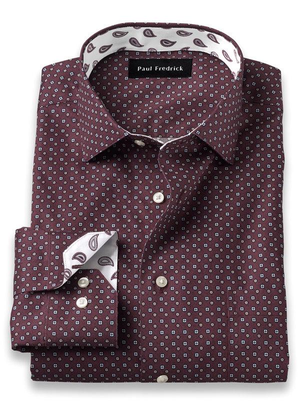 Slim Fit Non-Iron Cotton Deco Print Dress Shirt with Contrast Trim