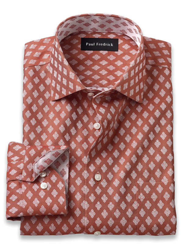 Slim Fit Non-Iron Cotton Diamond Pattern Dress Shirt with Contrast Trim