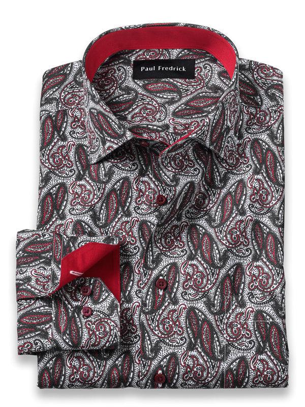 Slim Fit Non-Iron Cotton Paisley Print Dress Shirt with Contrast Trim