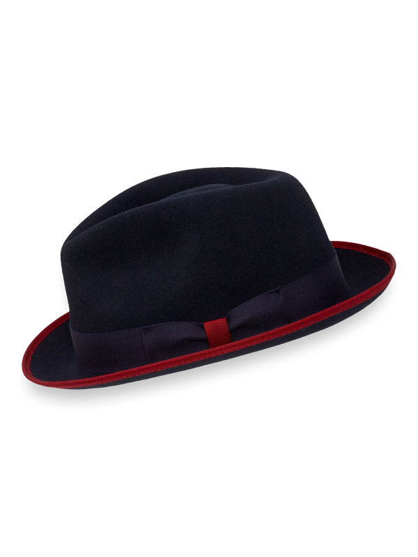 Wool Fedora with Colored Trim