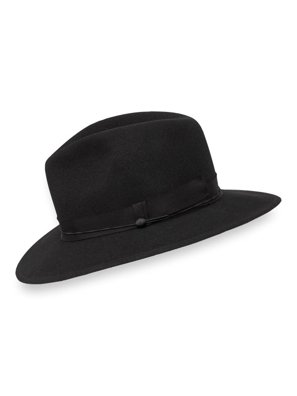 Wool Fedora with Button Accent