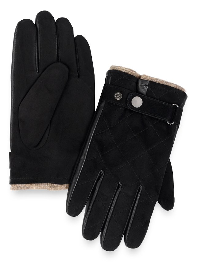 Goatskin Quilted Suede & Leather Gloves