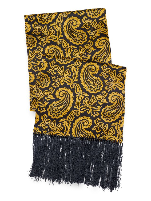 Paisley Silk Reversible Scarf With Fringe