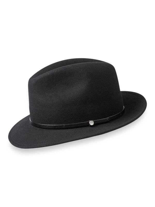 Wool Fedora With Pearl Button Detail
