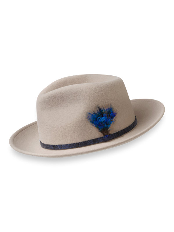 Wool Fedora With Leather Band & Feather