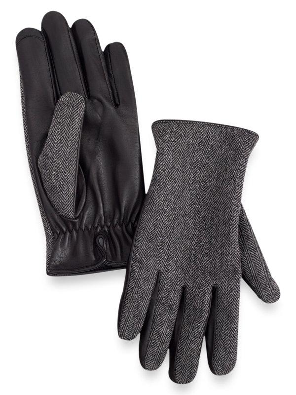 Goatskin Leather & Herringbone Wool Gloves
