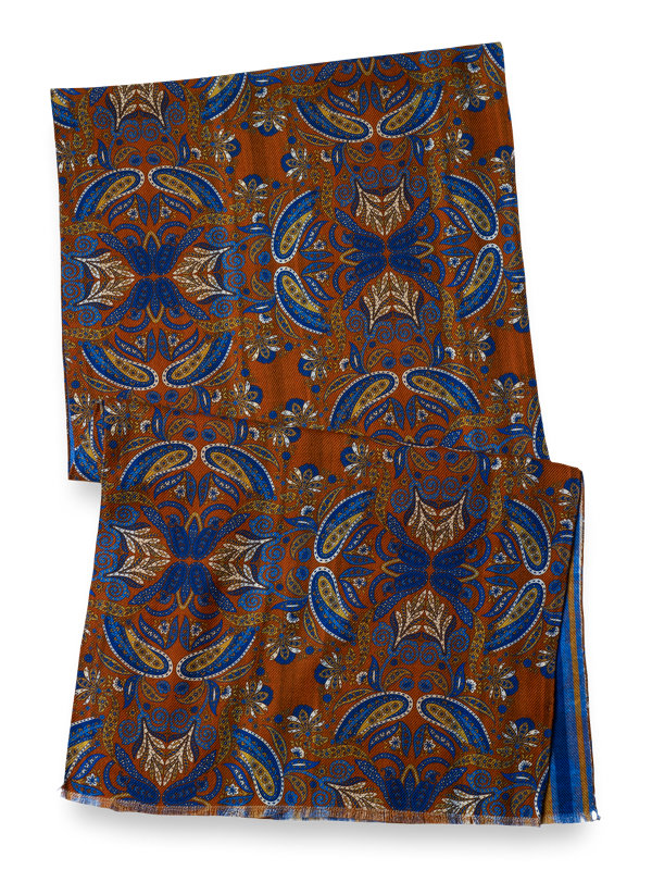 Wool Reversible Paisley & Striped Scarf