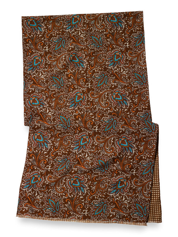 Wool Reversible Paisley & Gingham Scarf