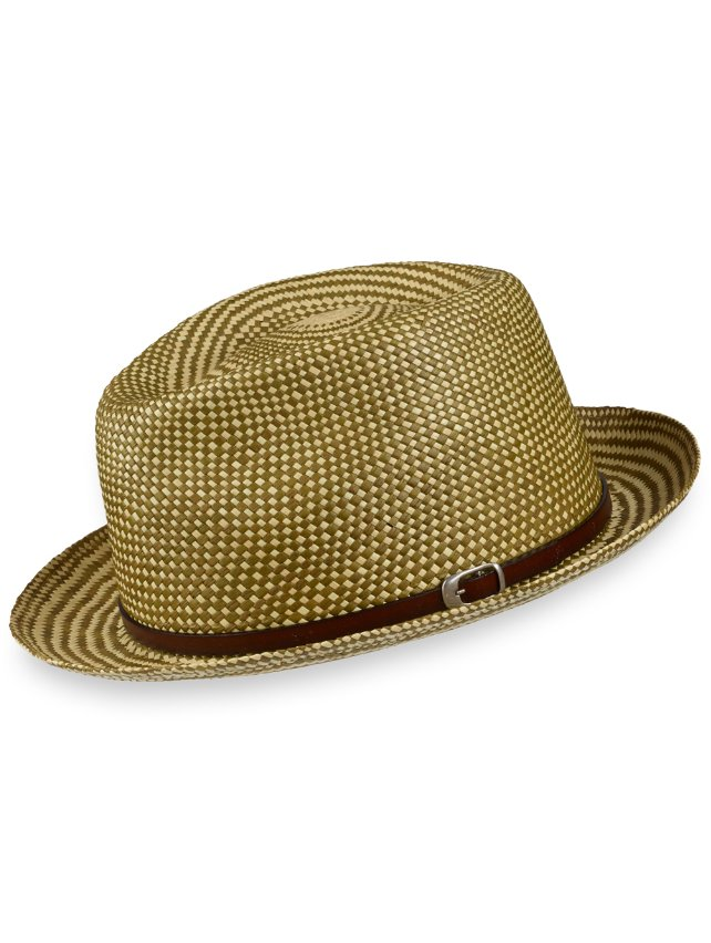 Genuine Panama Straw Fedora With Leather Band