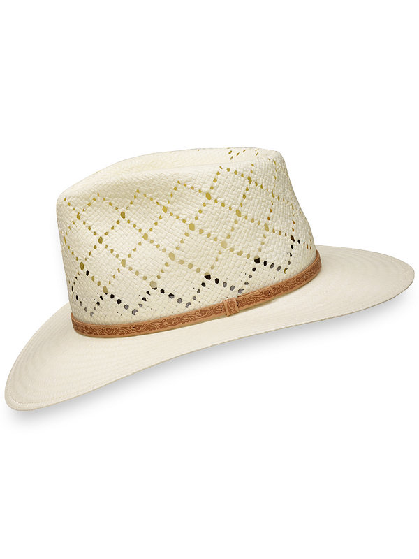 Straw Open Weave Fedora with Leather Band