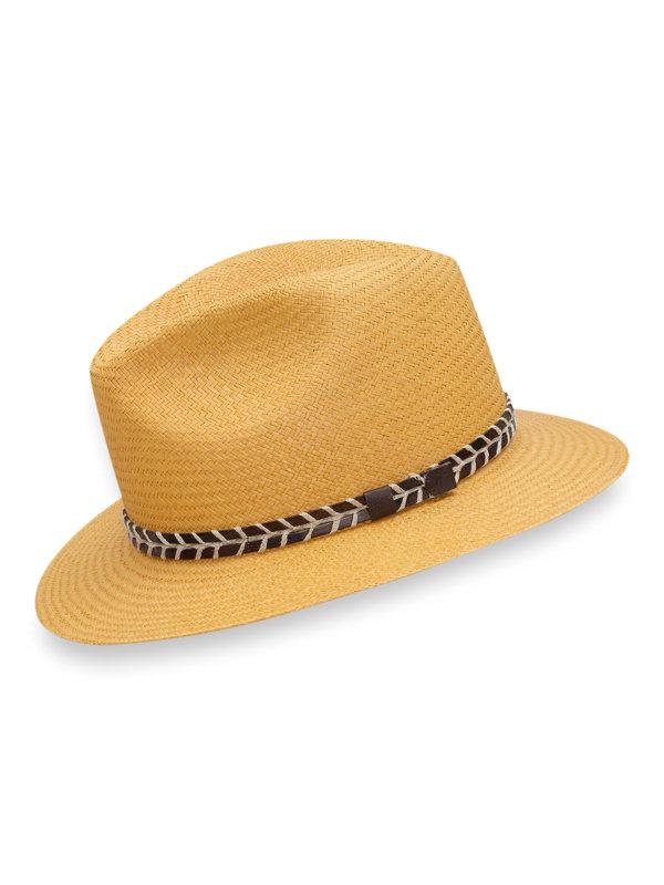 Genuine Panama Straw Fedora With Leather Band