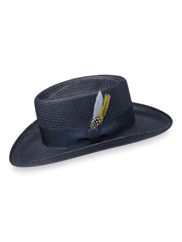 Genuine Panama Straw Fedora With Feather