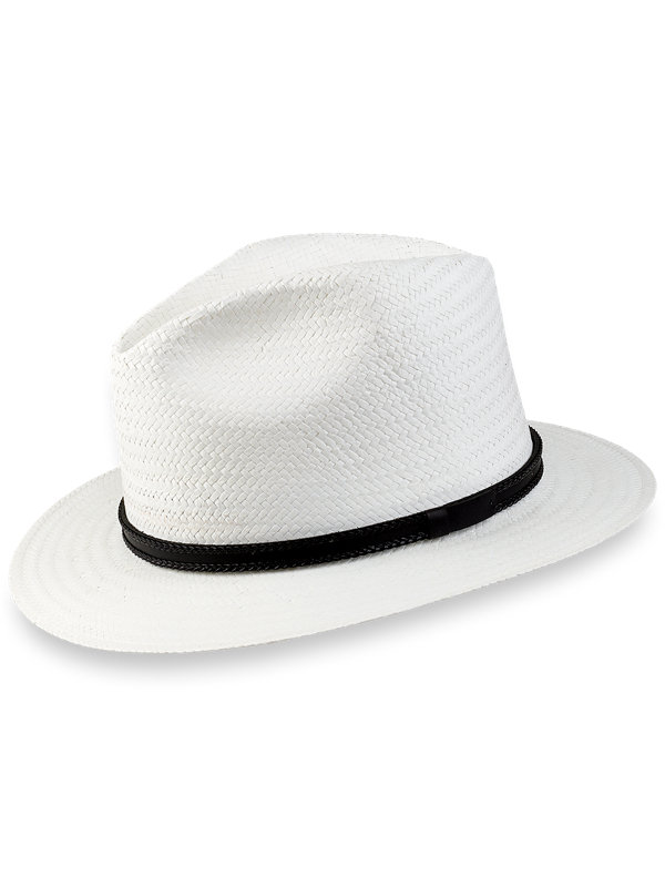 Straw Fedora With Leather Band